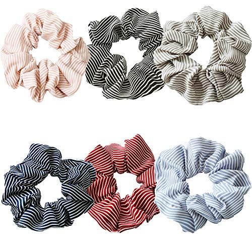 Preisvergleich Produktbild Haargummis,  6 Stück,  elastisch,  gestreift,  für Mädchen und Damen,  Haarschleife,  Chiffon,  Pferdeschwanz-Halter,  bunte Haargummis,  weiche Haarbänder (A)