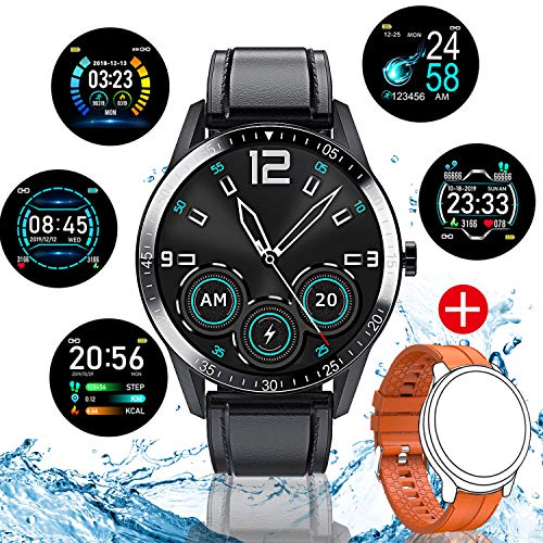 AOYODKG Smartwatch, Reloj Inteligente Impermeable IP68 para Hombre Mujer niños (Negro)