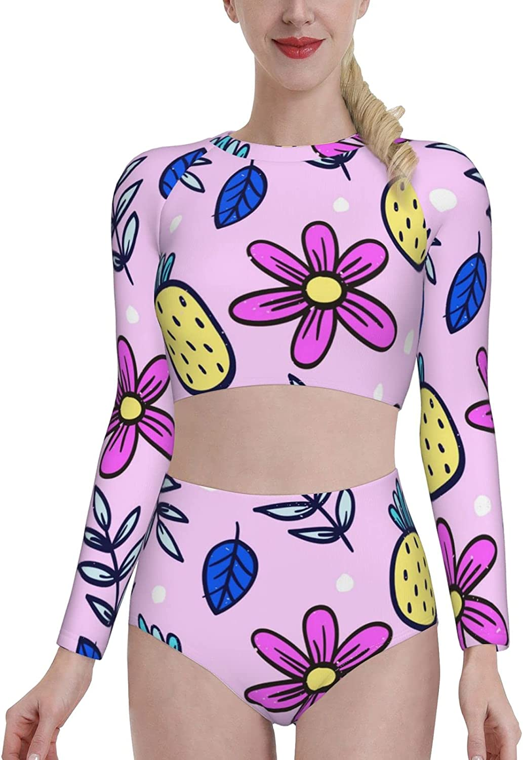 KUOAICY Pineapple with Flower Petals Women's Rash Guard Long Sleeve Bathing Suit with Bra Swimsuit High Waist Pants