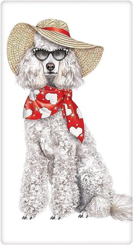 Mary Lake Thompson Poodle With Sunglasses Flour Sack Dish Towel