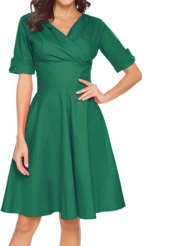Women's 1950s Vintage Wrap V-Neck Rockabilly Retro Dresses Midi Party Cocktail Swing Dress