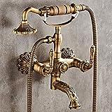 Europeo de latón antiguo ducha de mano sistema 2-función teléfono styling ducha set pared boquilla bronce grifo retro durable