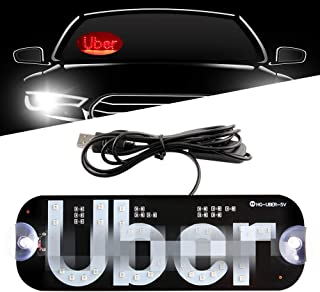 Sidaqi LED USB Sign Light Red Glowing Decal with Suction Cups on Car Window Windshield Cab Interior Indicator Lamp for Driver