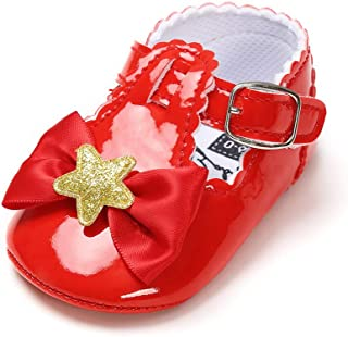 Isbasic Baby Girl Bows Mary Jane Flats Toddler Infant Soft Sole Anti-Slip Princess Baptism Crib Dress Ballet Shoes