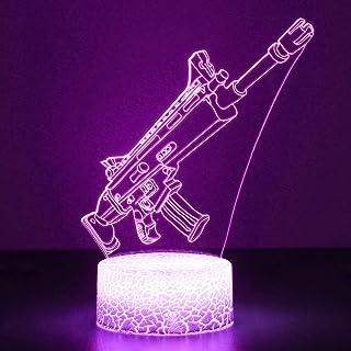 3D Festungslampe Battle Bus RGB Stimmungslampe 7 Farben Sockel Acryl Stereo Illusion LED Tischleuchte Nachttischlampe Crac...
