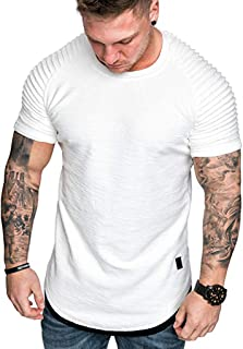 T-Shirts for Men Pleated Shoulder Solid Polo Henley Shirts O-Neck Short Sleeve Fashion Casual Slim Tees Tops