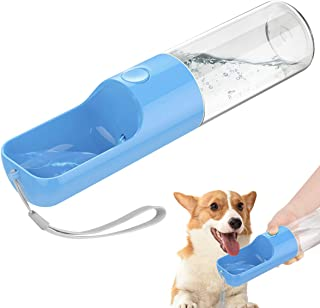 Pawaboo Pet Outdoor Water Bottle, Leakproof Food Grade ABS Dog Water Feeding Bottle with Bowl Dispenser Drinking Feeder, Portable Puppy Drinking Bottle for Outdoor Walking Travel, 15.2oz/450ml