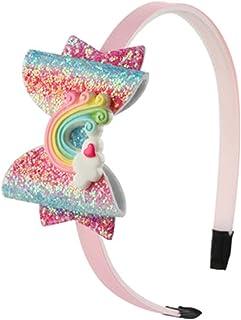 ZOONAI Girls Glitter Headband Rainbow Hariband Headwear Accessories for Children Girls