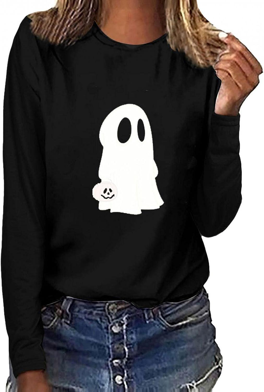 Halloween Sweatshirts for Women Night Fluorescent Green Tops Crewneck Long Sleeves Pullover Blouses