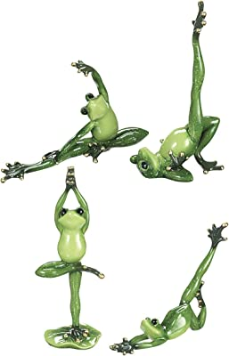 Spring GZ Frog Yoga Natural Green 10 x 5 Resin Stone Collectible Figurines Set of 4