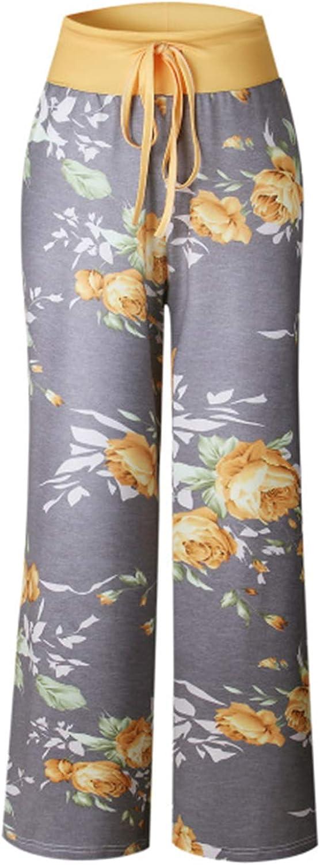 XIKN Printed Sleep Bottoms Women Loose Long Pajama Pants Flower