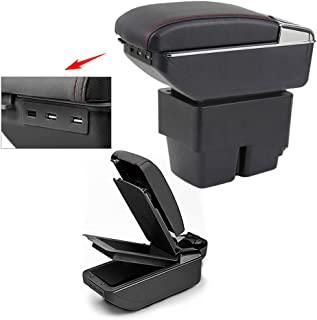 8X-SPEED for 2009-2017 Ford Fiesta 3 MK7 Top Car Armrest Center Console Accessories Arm Rest Charging Function with 7 USB Ports Double-Space Black