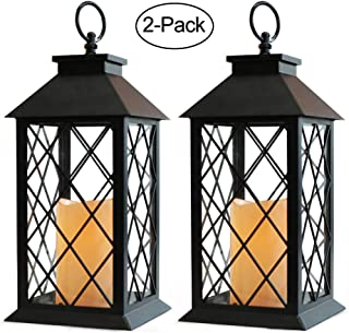 "Bright Zeal 2-Pack 14"" Decorative Candle Lantern Black Outdoor Lanterns With Timer Candles - Lanterns Battery Powered Led Decorative For Wedding - Decorative Hanging Lantern For Patio Tabletop Lantern"