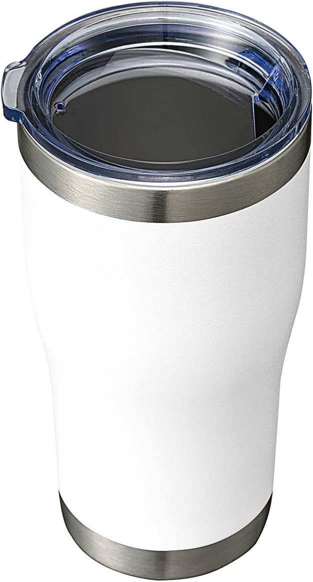 HASLE OUTFITTERS 20oz Tumbler Double Wall Vacuum Insulated Mug with Lid Stainless Travel Mug Durable Exterior Powder Coating for Ice and Hot Beverage (White, 1Pack)