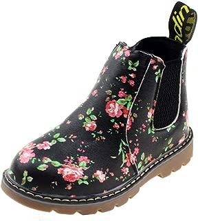 Boy's Girl's Floral Ankle Boots, Waterproof Side Zipper Rain Shoes (Toddler/Little Kid/Big Kid)