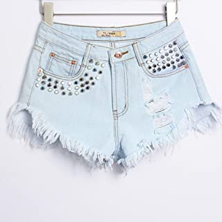 Jieming 女性の穴リベットジーンズファッションデザインハイウエスト緩いホットパンツ春と夏の不規則な緩いファッション (Color : Blue, Size : L)