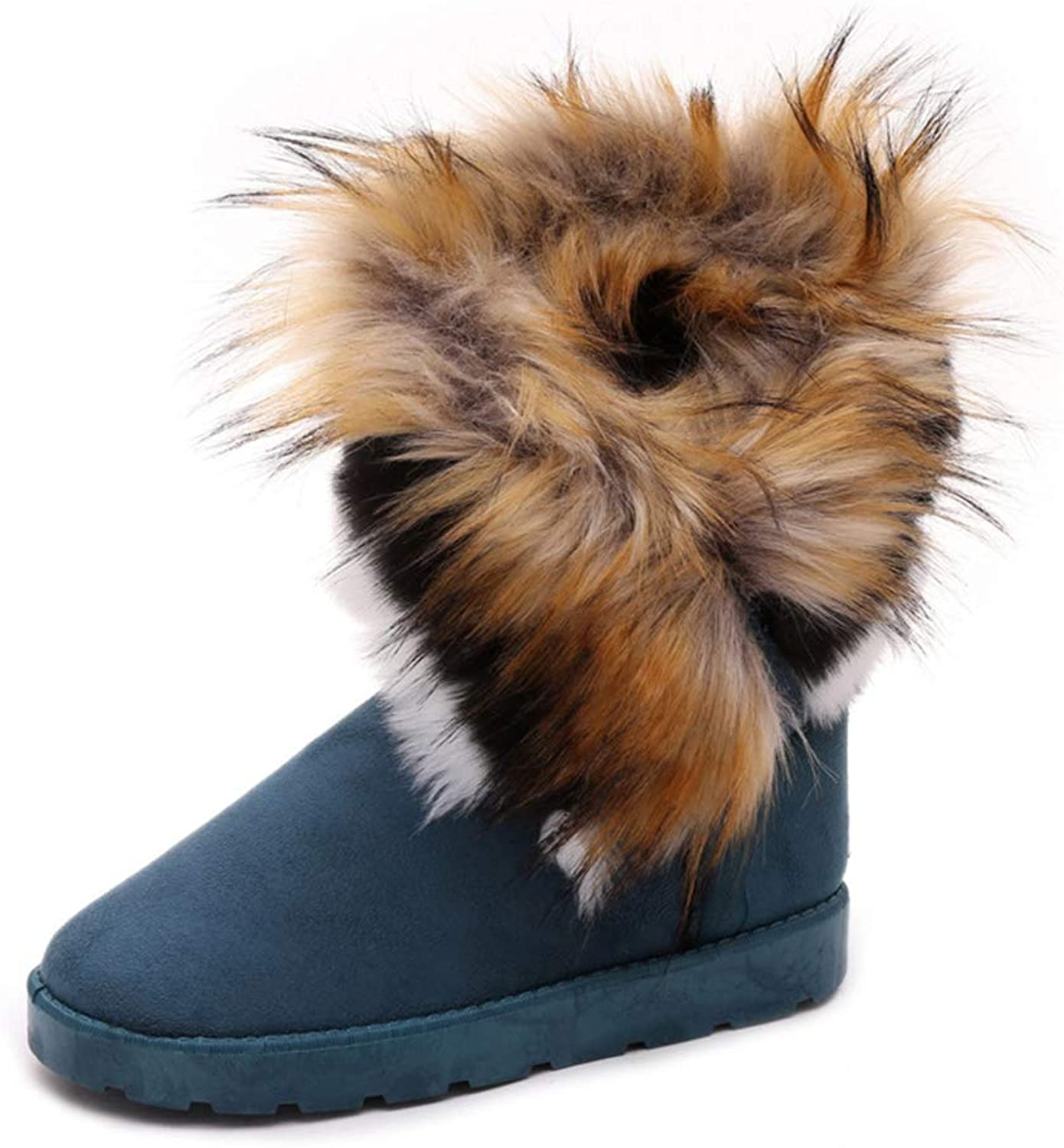 Super explosion Fashion Women Snow Boots Faux Fox Fur Ankle Booties Soft Slip-on Winter Boots