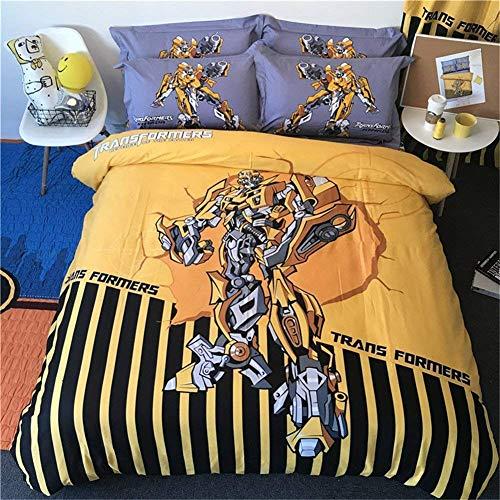 Canvas 3D-Druck Bettbezug-Set Iron-Man Transformers Bumblebee Superman Muster Kinder Bettwäsche Set Erwachsene 1 Bettbezug 2 Kopfkissenbezüge,AUSingle