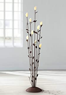 Arbor Cottage Floor Lamp 9-Light Rust Twisted Vine Metal Glass Shade Foot Dimmer for Living Room Bedroom - Franklin Iron Works