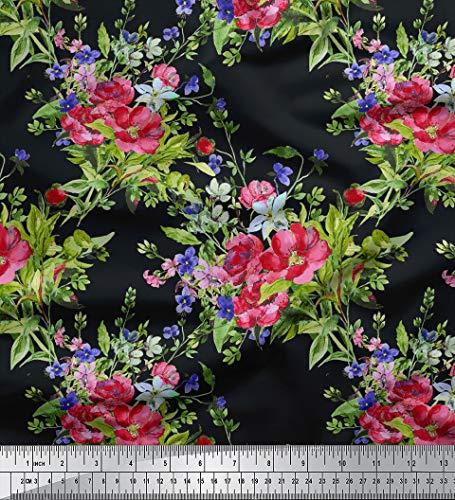 Soimoi 58 Zoll breit Blumendruck Dekorative Viskose Stoff Nähgut 115 GSM durch Das Messgerät - Schwarz
