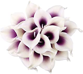 Leagel Calla Lily Bridal Wedding Bouquet Head Lataex Real Touch Flower Bouquets (20, Purple White)