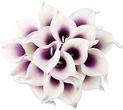 Leagel Calla Lily Bridal Wedding Bouquet Head Lataex Real Touch Flower Bouquets (20, Purple White)