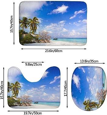 Alfombra De Baño Antideslizante Juego De Alfombras De Baño De Franela De 3 Piezas Sea Island Sky Clouds Alfombra De Baño+Fund