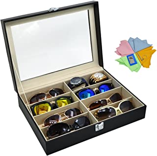 3 Gifts for Free! ADTL Black Leather Box 8 Slots For Eyeglass Sunglass Glasses Display Case Storage Organizer Collector