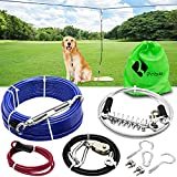 Dog Tie Out Trolley System Dog Run Cable 92ft Aerial Run Cable with 15ft Divided into Two Sections Dog Runner Cable for Yard Pulley Runner Line for Medium Small Dogs Up to 75 lbs (Blue)