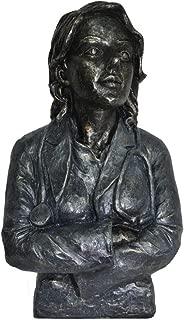 The Urban Port Antique Doctor Female Statue Sculpture in Patina Black Finish
