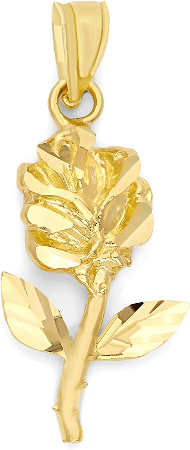 10k Real Solid Gold Rose Pendant Romantic Max 69% OFF J Flower Direct stock discount for Necklace