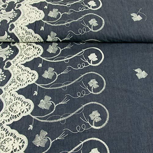 Jeansstoff einseitige Bordüre Stickerei Design Lora - Preis Gilt für 0,5 Meter