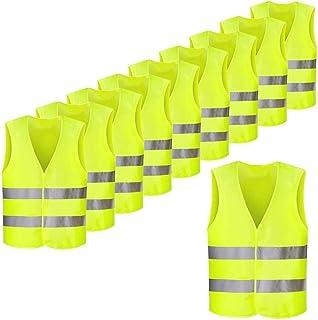Femor Chaleco de Seguridad Reflectante de Alta Visibilidad XXXL Multifuncional Resistente 63 x 58 cm Color Amarillo (10/2...