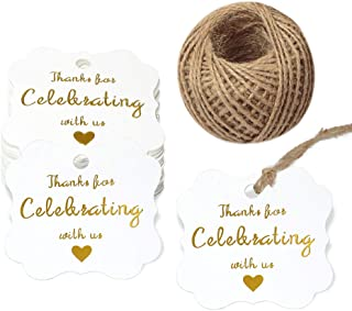 Baby Shower Tags,Wedding Favor Tags,Thank You for Celebrating with Us Paper Gift Tags with Gold Foil Letters,100 Pcs White Thank You Tags for Wedding Party Favors with 100 Feet Natural Jute Twine