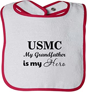 Usmc My Grandfather Is My Hero Infant Contrast Trim Terry Bib White/Red