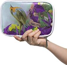 Spring Floral Bird Big Pencil Case Multifunction Leather Cosmetic Brushes Bag Organizer Zip Pouch