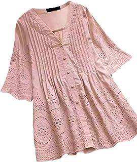 MK988 Women's Plus Size Cotton Linen V-Neck Solid Ruched Button Down Shirt Blouse Top