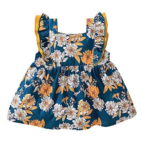 Camidy Mädchen Blumen Tops Mode Sommer Kinder Kleinkind Mädchen Ärmellose Gekräuselte Bedruckte Blume Tops Shirt Kleid