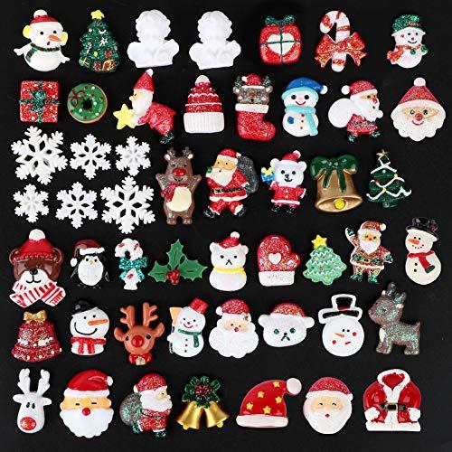 BHGT 50 Mini Adornos Navidad Pequeños con 60 Puntos Pegamentos Figuras Miniaturas Navideñas Pegatinas Manualidades Decoración Regalo Calendario de Adviento
