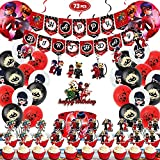 Lady-bug Birthday Party Supplies, Birthday Party Decorations bug party supplies Included Happy Birthday Banner -Tablecloth-Foil Balloons - Miraculous Ladybug Balloons - Cake Topper - Cupcake Toppers - Hang Swirls ,Perfect For Your Kids Theme Party