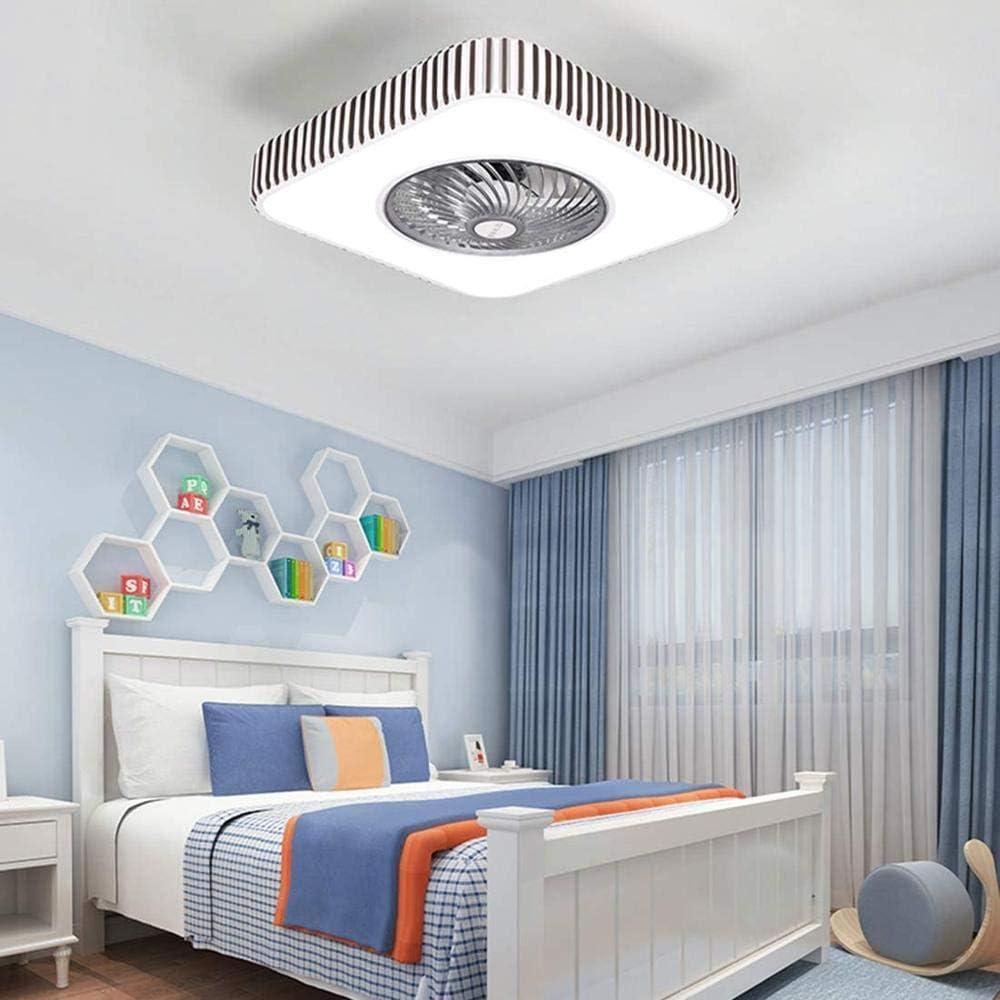 Ventilador de techo con iluminación LED,Bluetooth Fan de techo con luces Control remoto Ventiladores de techo Lámpara para comedor Dormitorio 110V / 220V LED multifunción iluminación-Cuadrado