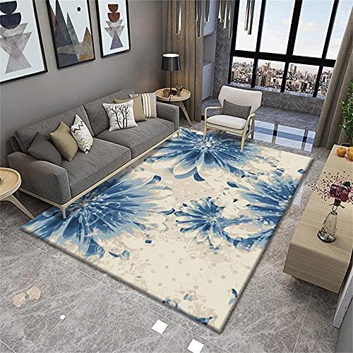 Decoration Chambre Tapis Poil Ras Blue Stéréo Floral Design Girl Girl Safety Safety Protection de l