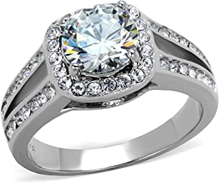 Marimor Jewelry 2.95 Ct Halo Cubic Zirconia Stainless Steel Engagement Ring Band Women's Sz 5-10