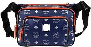 MCM Men's Resnick Estate Blue Leather Reflective Nylon Belt Bag MUZ9ARA09VE001