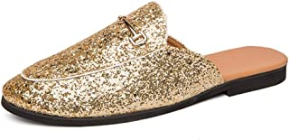 TGGongshengf Fashion Half Loafers for Men Outdoor Slippers Round Toe Slip On Sequin Synthetic Leather Lightweight Cozy Breathable Sewing Anti Slip (Color : Gold, Size : 39 EU)