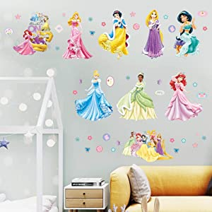 Supzone Princess Wall Stickers Girls Wall Decor Removable Art Decor Wall Decals for Girls Bedroom Children's Room Nursery Playroom Wall Decals