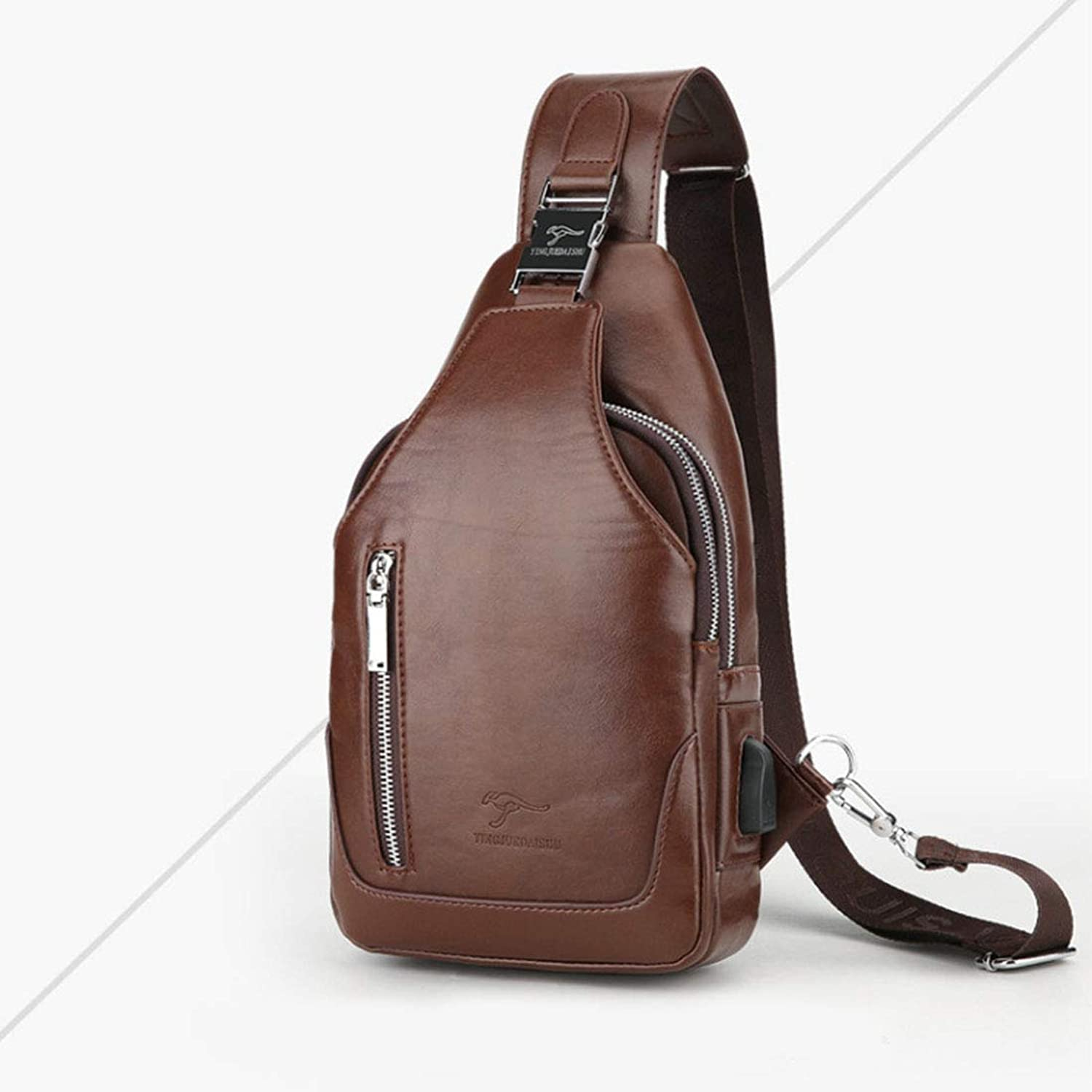 056639abbc02 Men's Sling Genuine Leather Chest Shoulder Backpack Cross Body Purse ...