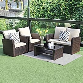 Wisteria Lane 5 Piece Outdoor Patio Furniture Sets, Wicker Rattan Sectional Sofa with Seat Cushions, Brown 7 HANDWORK MATERIAL - Constructed from strong galvanized steel frame and commercial grade hand woven weather-resistant PE rattan won't rust or fade.It's a handsome décor to your patio, garden, park, or yard UPGRADED COMFORT - This contemporary outdoor sectional sofa comes with thick lofty sponge padded water resistant cushions, wide and deep chairs will provide enough room to seat comfortably EASY CLEANING - Weather-resistant wicker, tempered glass, and padded cushions with removable covers allow for easy cleaning and maintenance
