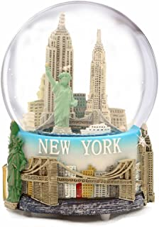 Musical New York City Snow Globe with Statue of Liberty, Empire State Building, Landmarks, 100mm New York City Snow Globes, 6 Inches Tall, PLAYS