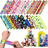 KD KIDPAR 168 PCs Slap Bracelets for Kids Party Favors Pack with Unicorn Colorful Hearts and Animal Emoji, Gift for Easter Egg Stuffers,School Classroom Exchange, Giveaways Goodies Treats